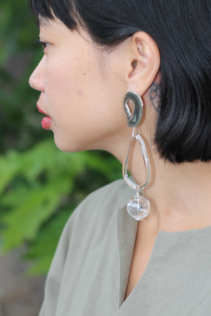 Clear Glass Bauble Hoops - White Bronze