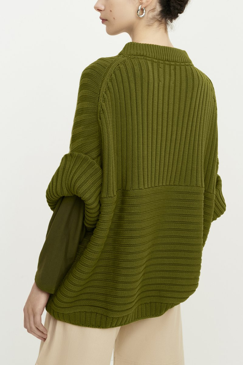 Kowtow Direction Sweater in Willow, back. Available at EASE Toronto.