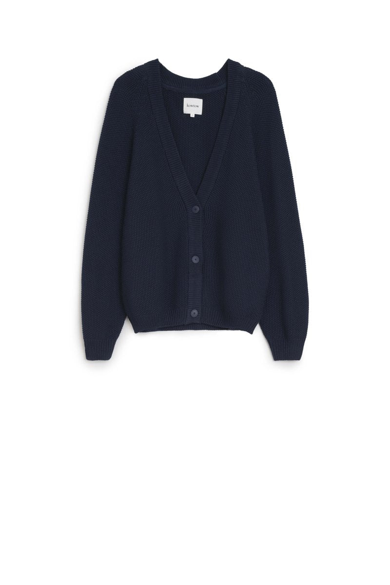 Kowtow Element Cardigan in Navy. Available at EASE Toronto.