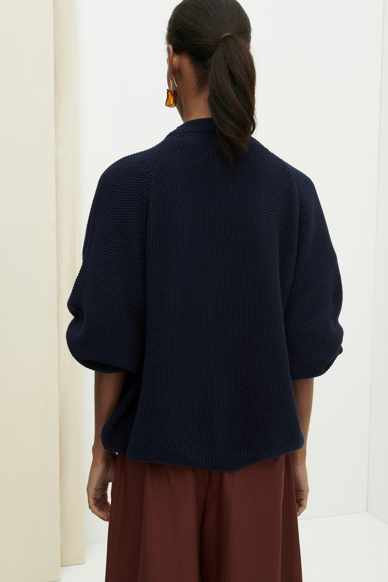Kowtow Element Cardigan in Navy, back. Available at EASE Toronto.