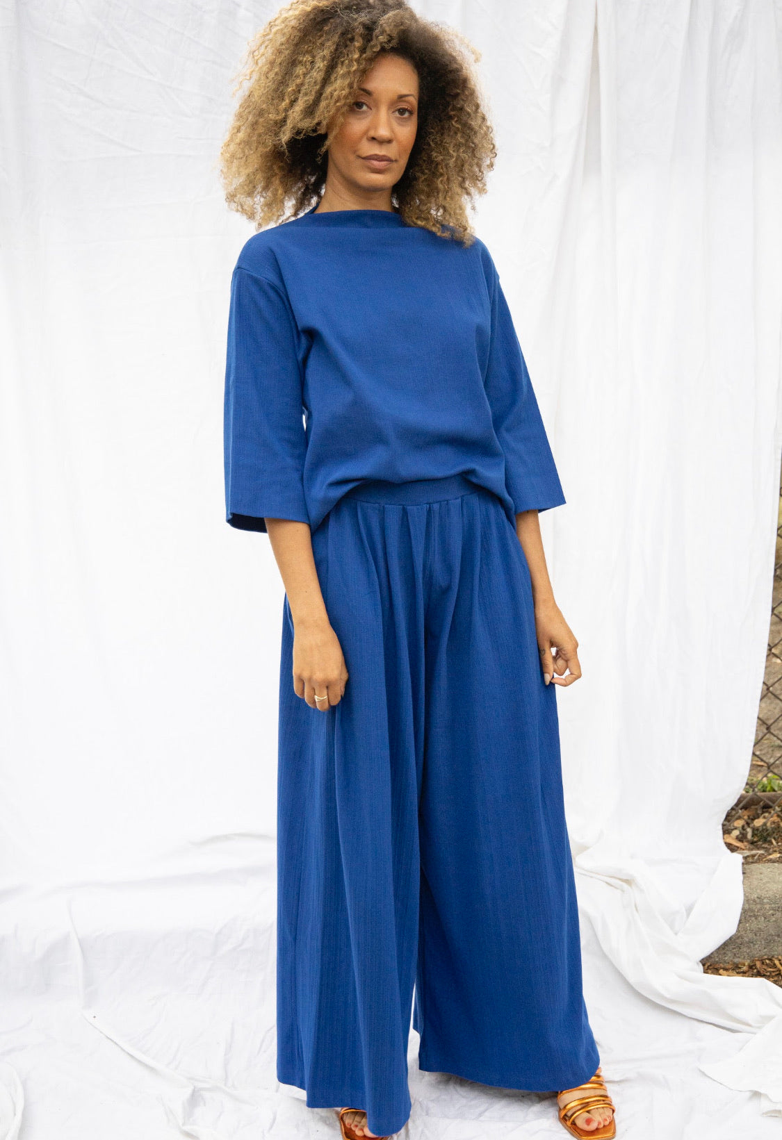 Funnel Neck Top - Electric Blue