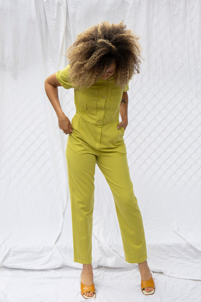 Ada Jumpsuit in Green Olive