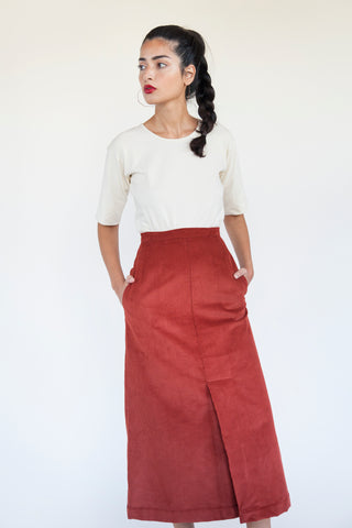 Kick Pleat Skirt - Rust