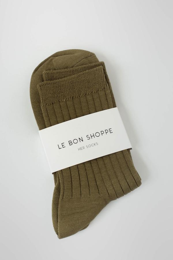Le Bon Shoppe Her socks in Pesto. Available at EASE Toronto.