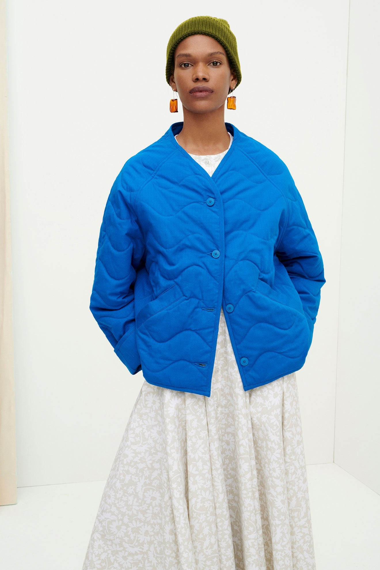 Kowtow Ocean Jacket in Sea Blue. Available at EASE Toronto.
