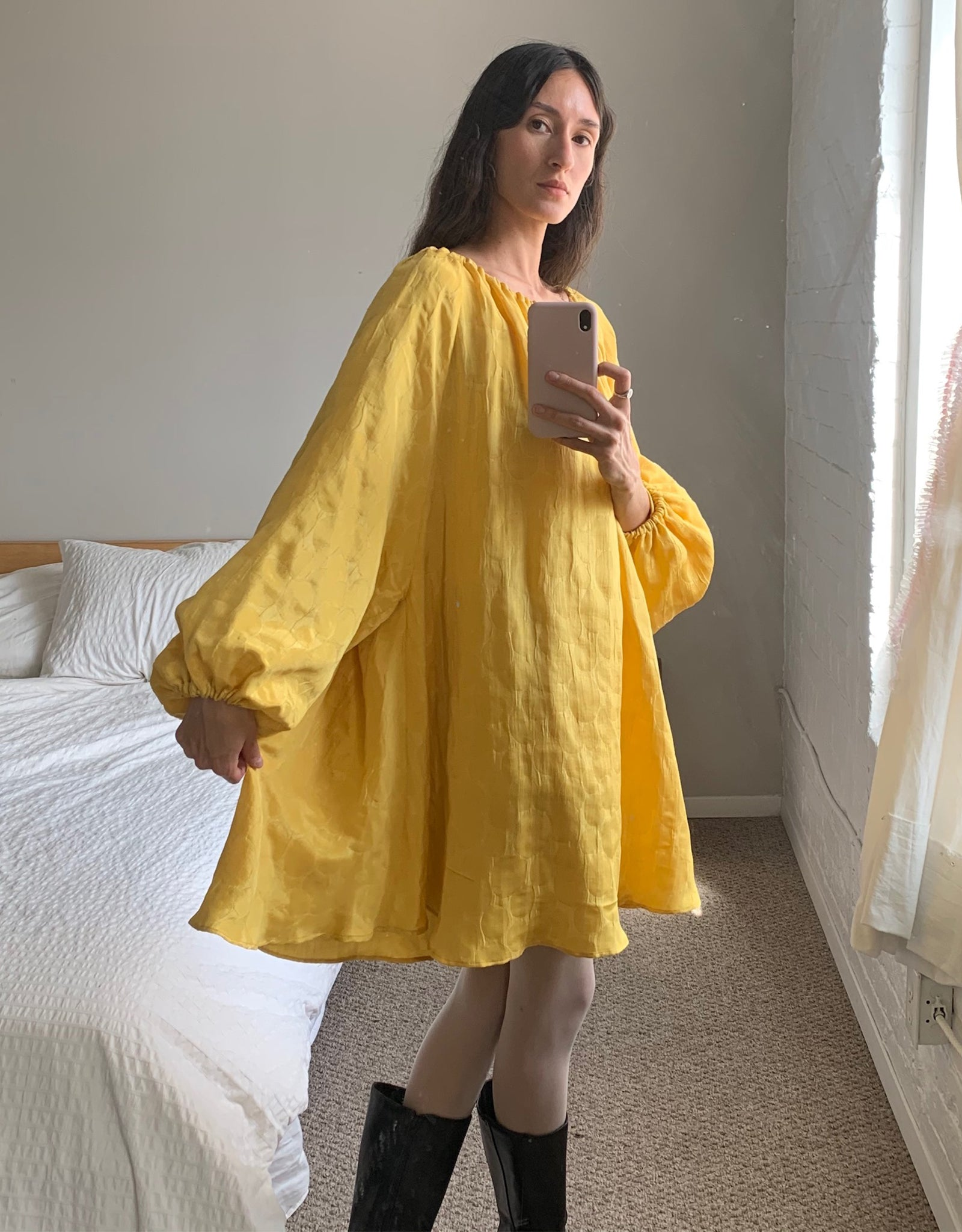 Golden Yellow Silk Autumn Sun Dress by Local Woman, on model. Available at EASE Toronto.