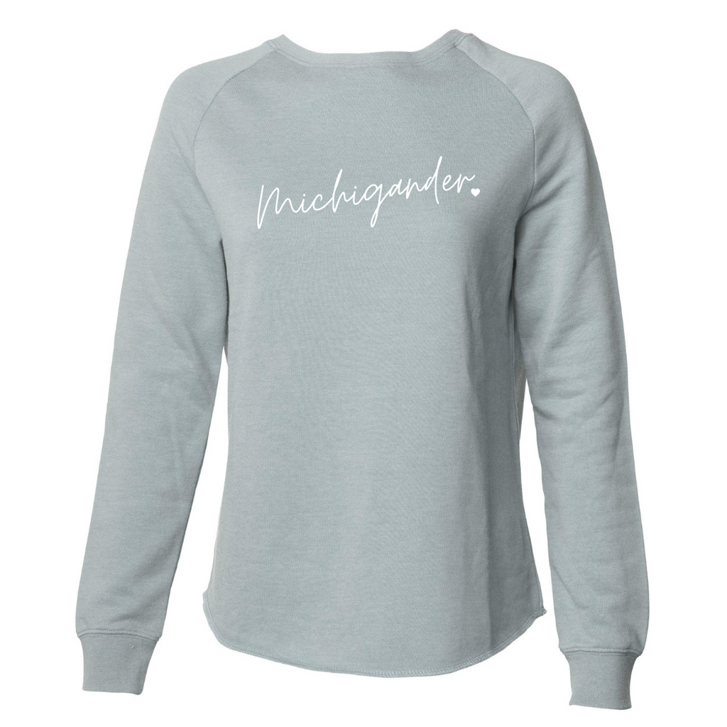 Michigander Script Sage Wideneck Sweatshirt