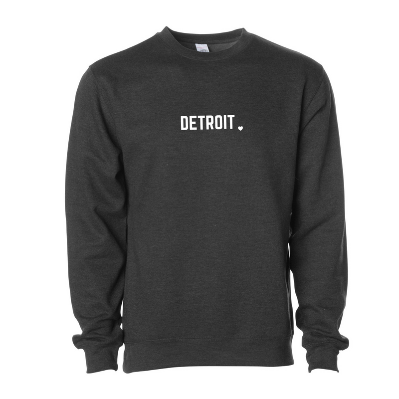Detroit Black Charcoal Crew Sweatshirt