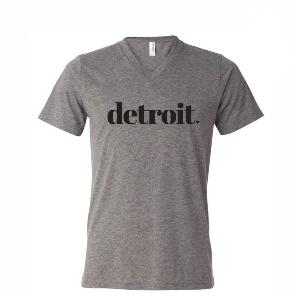 Detroit Grey Triblend V-Neck Tee