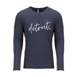 Detroit Script Vintage Navy Long Sleeve Tee