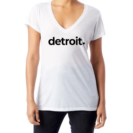 Detroit White Classic V-Neck Shirt