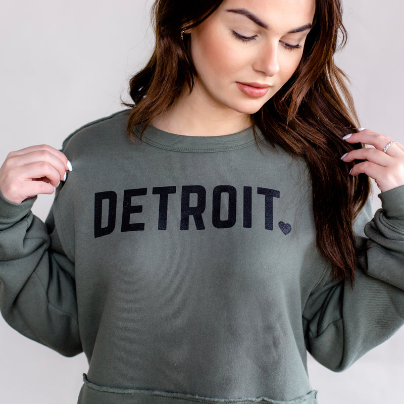 Detroit Military Green Pocket Crew
