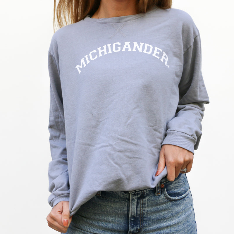 Michigander Dove Grey French Terry Crew