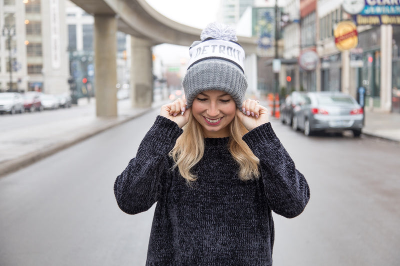 Detroit Heart Pom Winter Hat