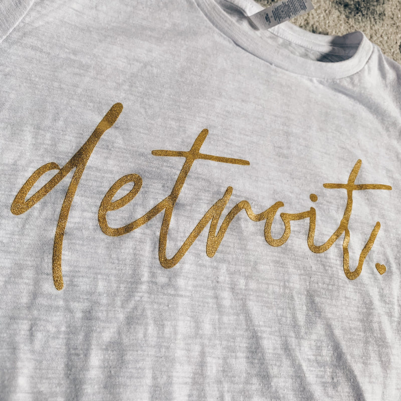Detroit Script Metallic Gold White Slub Tee