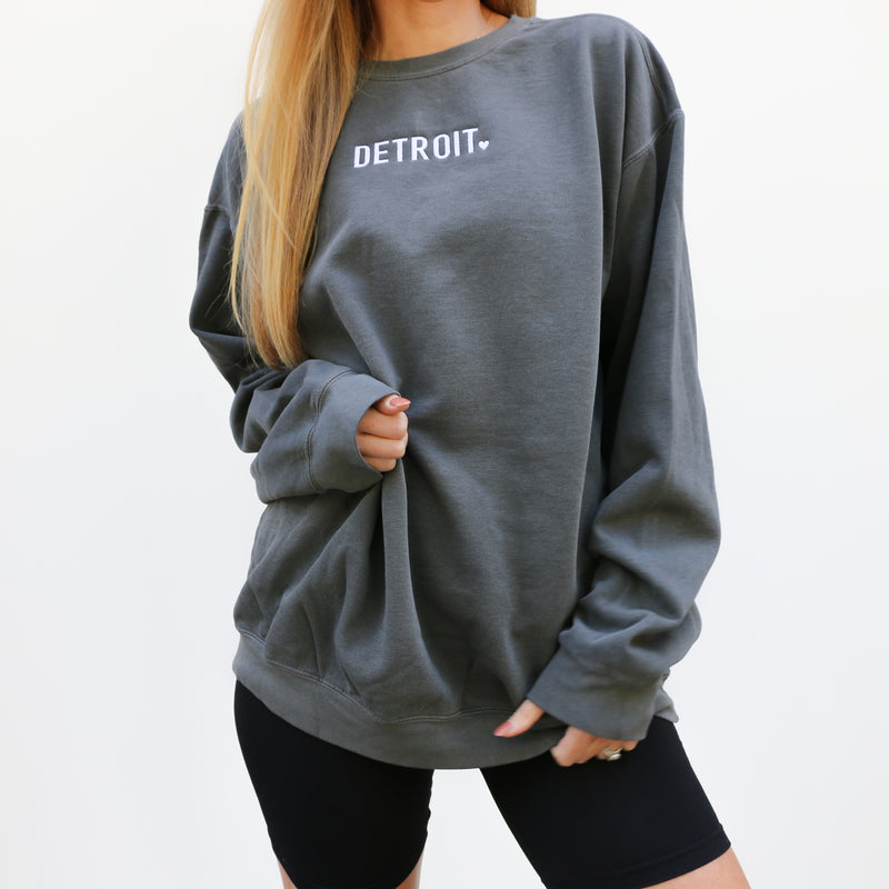 Detroit Embroidered Pigment-Dyed Crew Sweatshirt