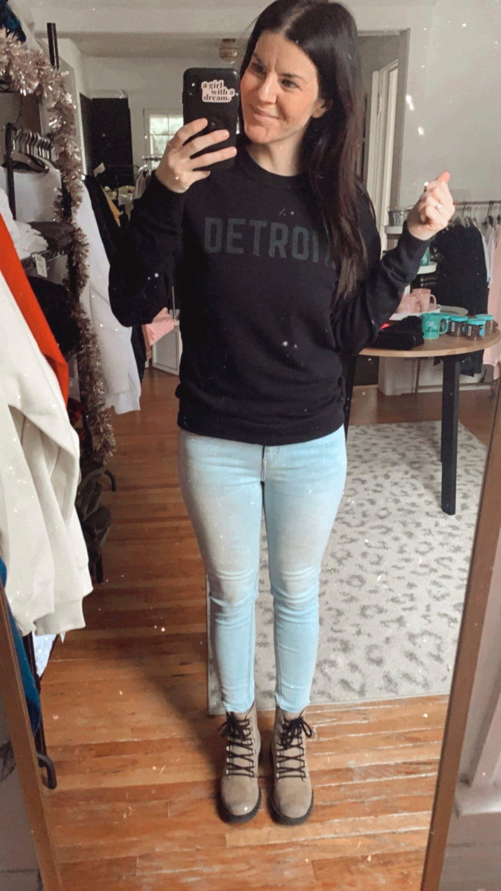 Detroit Black on Black French Terry Crew