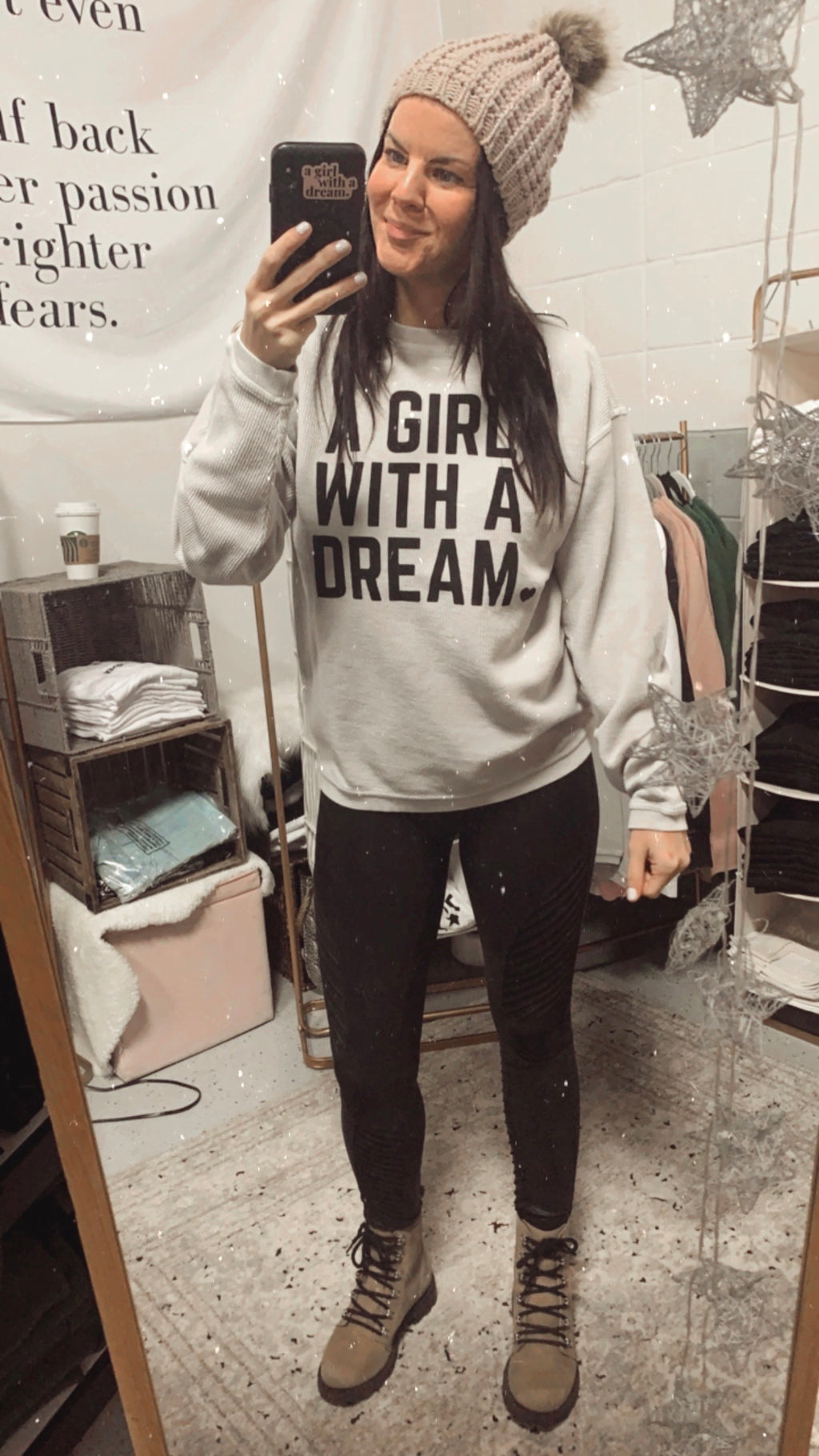A Girl With A Dream Stone Corded Crew