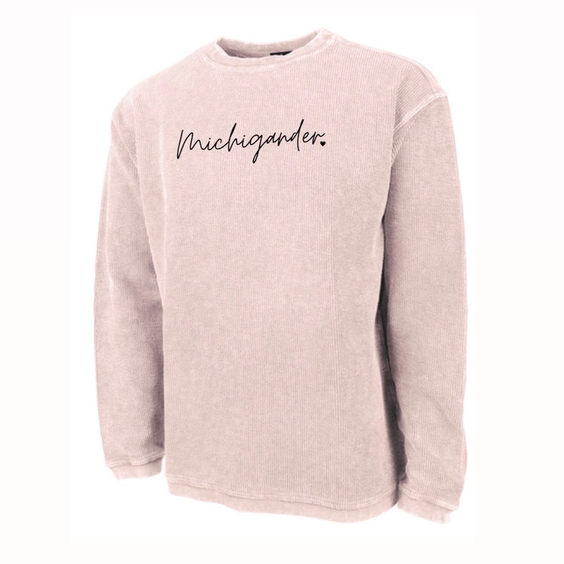 Michigander Pink Embroidered Corded Crew