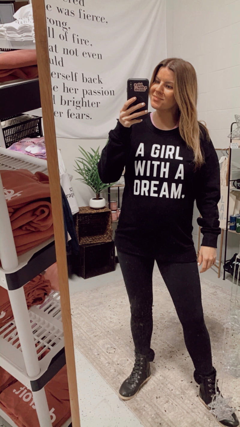 Girl with a Dream Black French Terry Crew