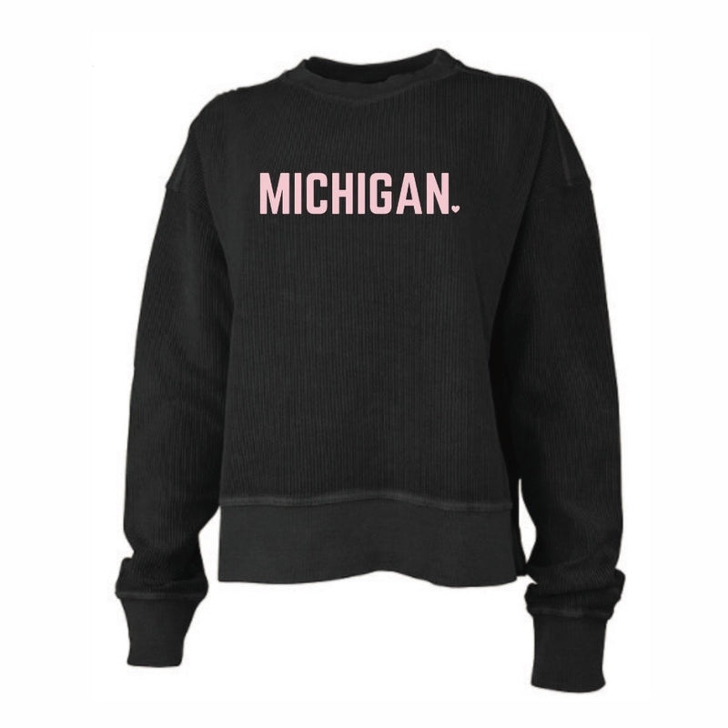 Michigan Corded Charcoal and Pink Cropped Crew