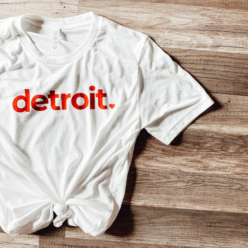 Detroit Red + White Classic Crew Tee