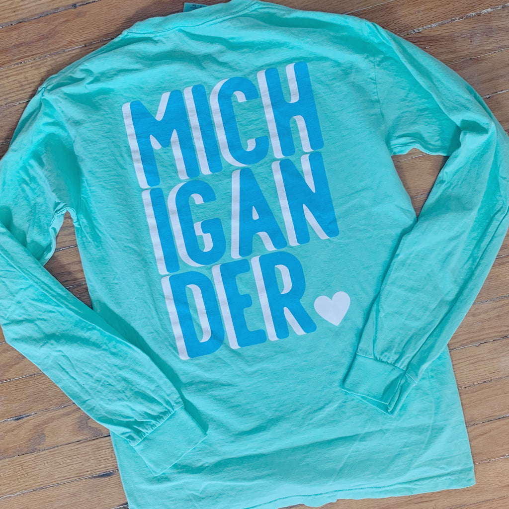 Michigander Island Green Long Sleeve Tee
