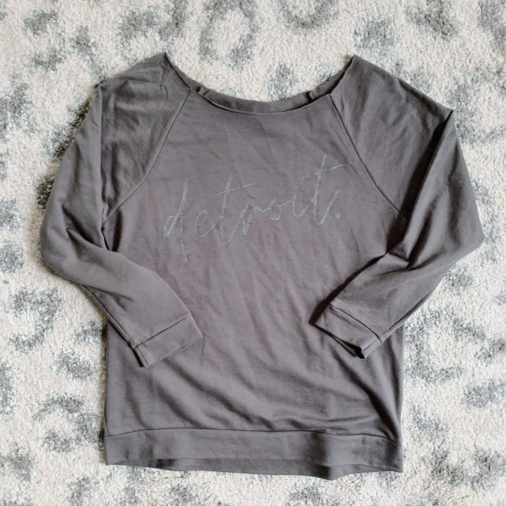 Detroit Wide Neck Metallic Grey Raglan