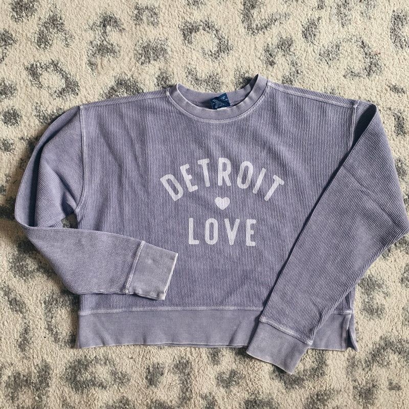 Detroit Love Violet Embroidered Corded Crop