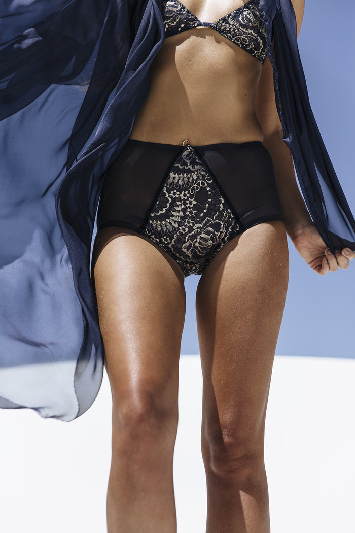 Gold and navy metallic lace high waisted underwear