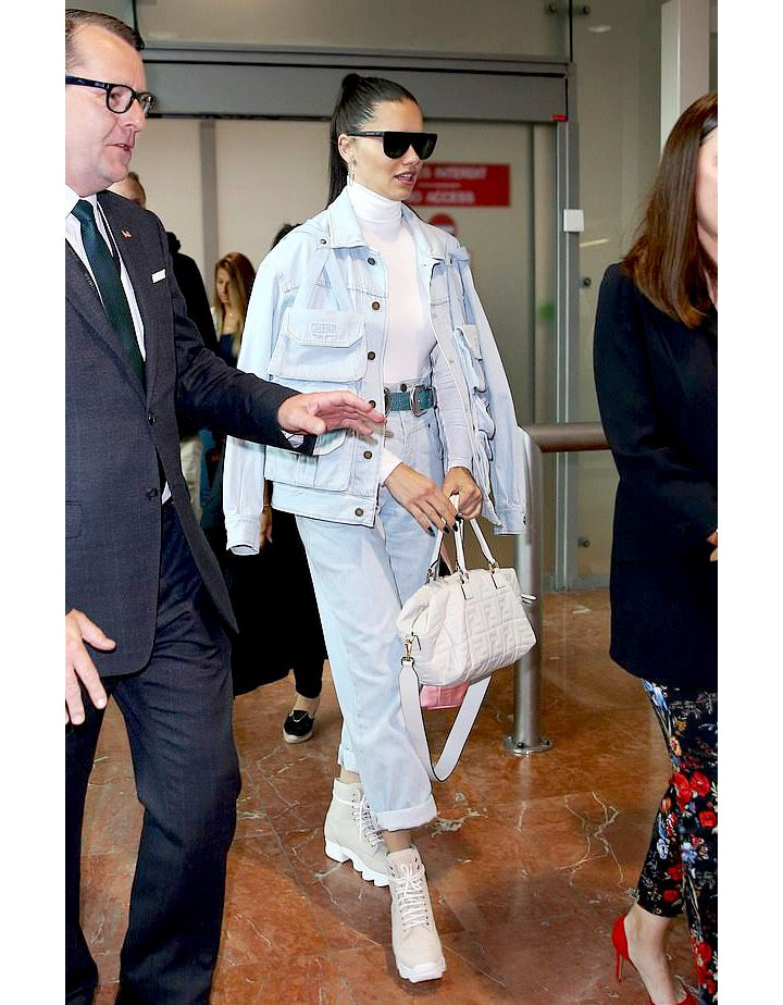 MAY 21, 2019 | Adriana Lima in Nude Nubuck Leather Boot