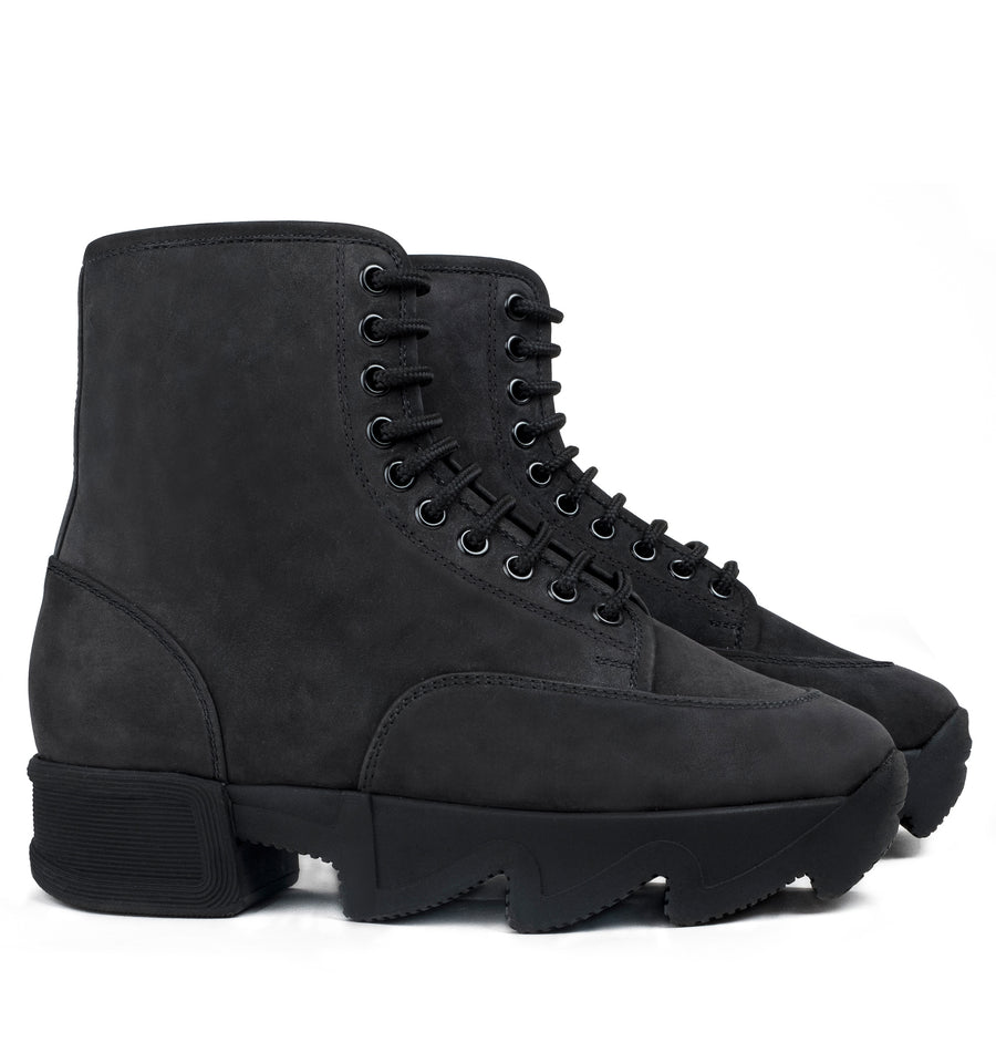 Unisex Black Nubuck Leather Boot