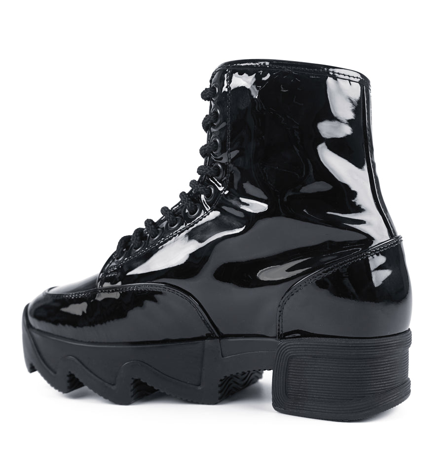 Unisex Black Patent Leather Boot