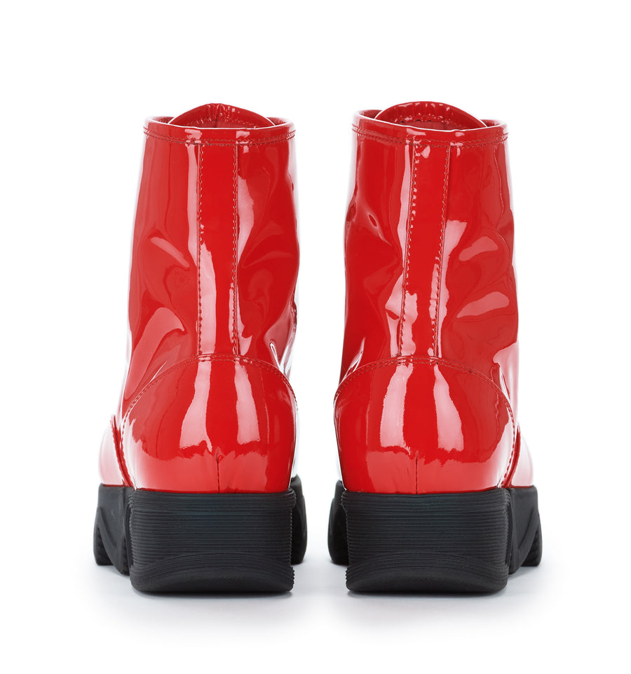 Unisex Red Patent Leather Boot