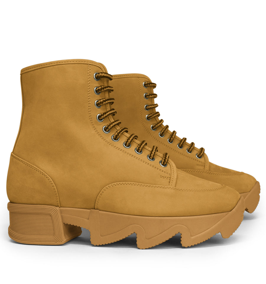 Unisex Tan Nubuck Leather Boot