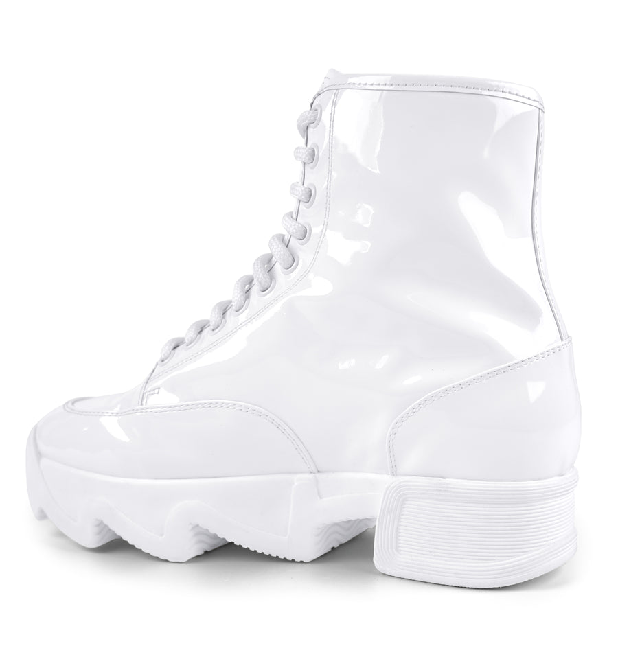 Unisex White Patent Leather Boot