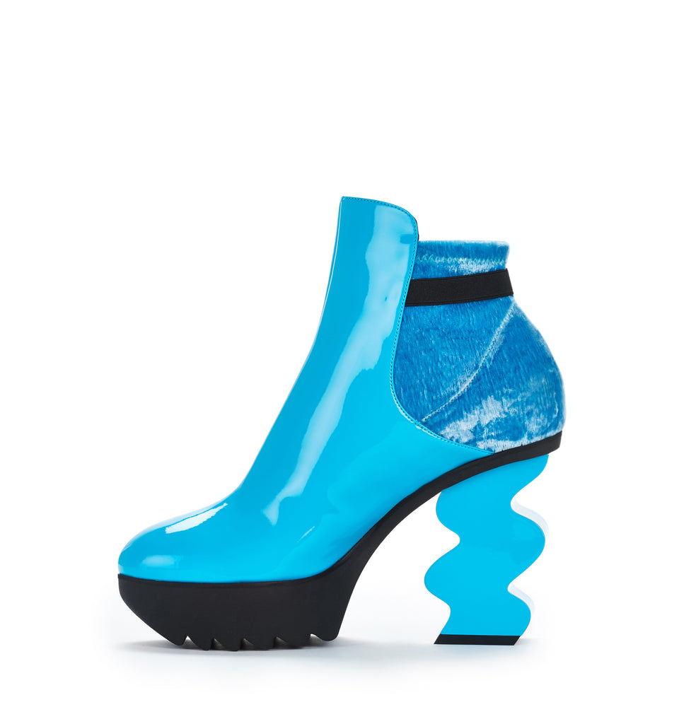 Blue Patent Velvet Bootie (Use Code BlackFriday to Get 20% Off)