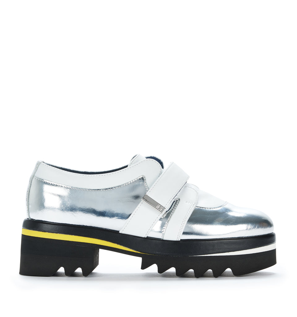 SS17 Unisex Silver Leather Derby