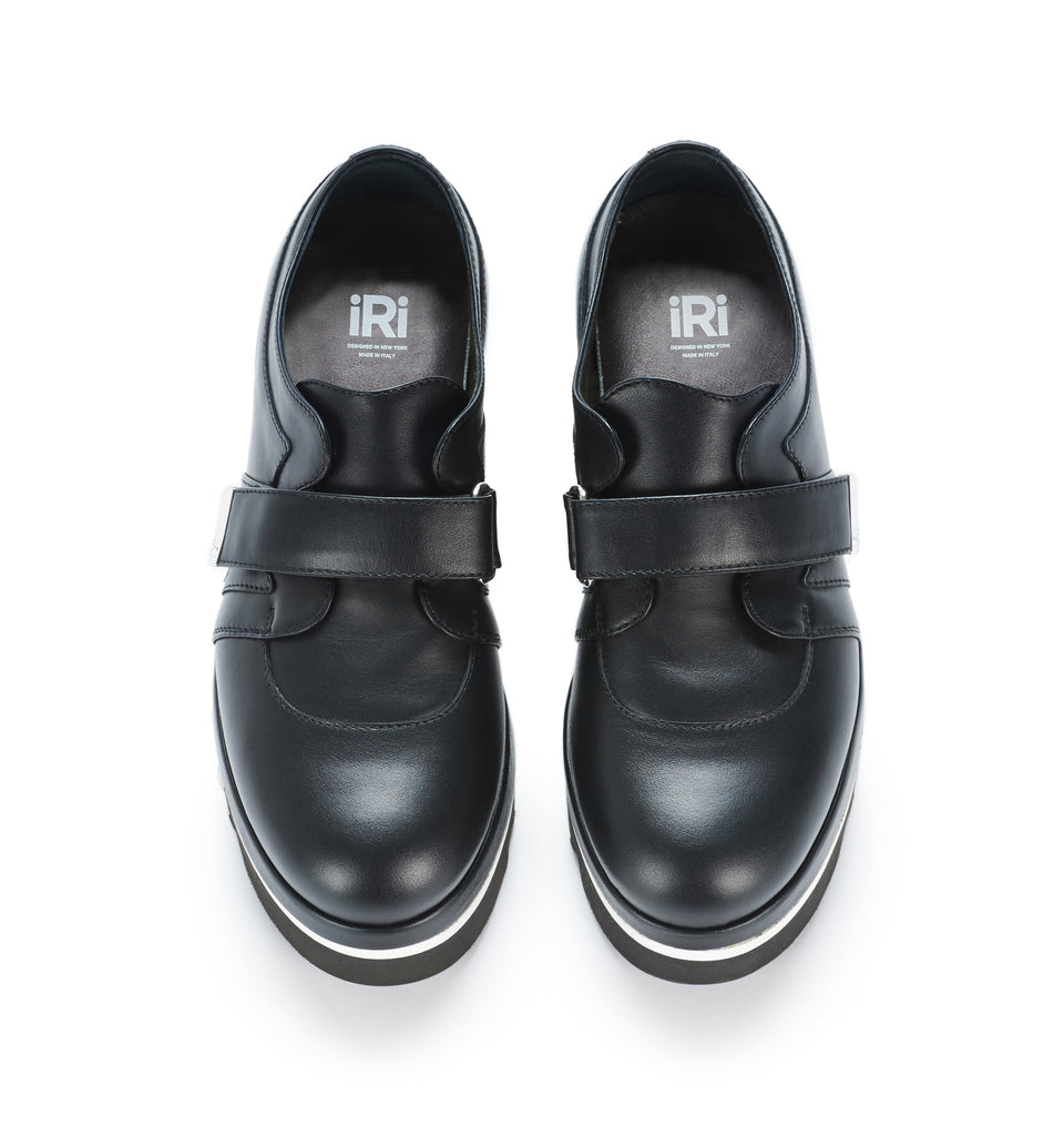 SS17 Unisex Black Leather Derby