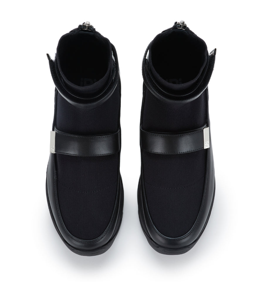 Unisex Black Leather Knit Sock Sneaker