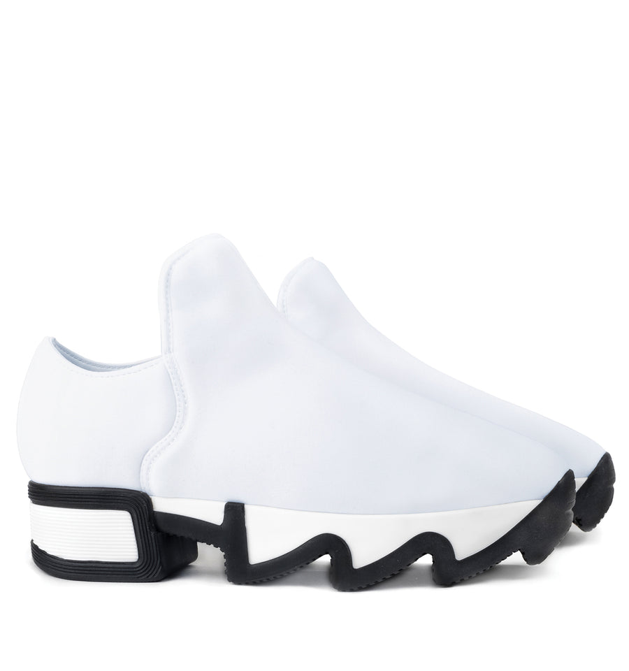 Unisex White Neoprene Low Top Sneaker