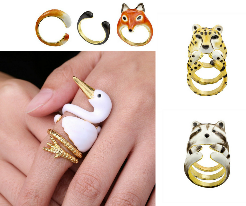 Cute 3-piece rings that become animals when you wear them all at once
