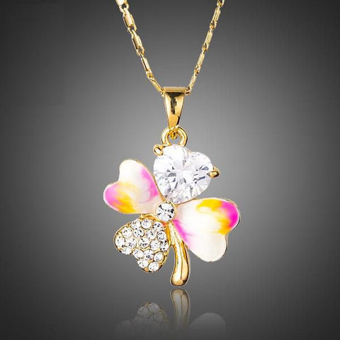 Gold Plated Clover Leaf Pendant Necklace