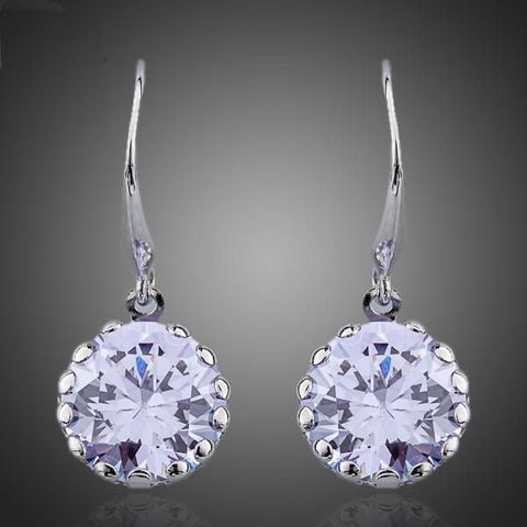 White Gold Plated Round Cubic Zirconia Drop Earring