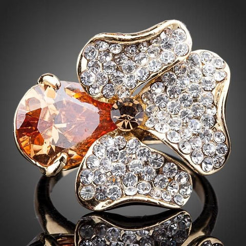 Stunning Orange Stellux Austrian Crystals Flower Ring