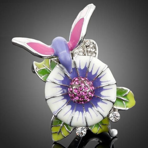 Platinum Plated Stellux Austrian Crystal Bird In the Flowers Design Ring