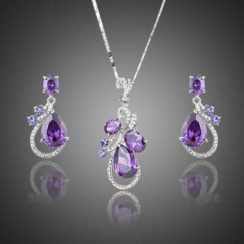 Purple Cubic Zirconia Water Drop Earrings and Pendant Necklace Jewelry Set