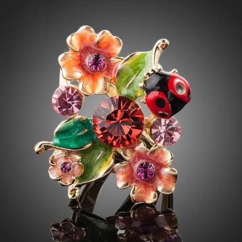 Stellux Austrian Crystal Multicolour Ladybug and Flowers Ring