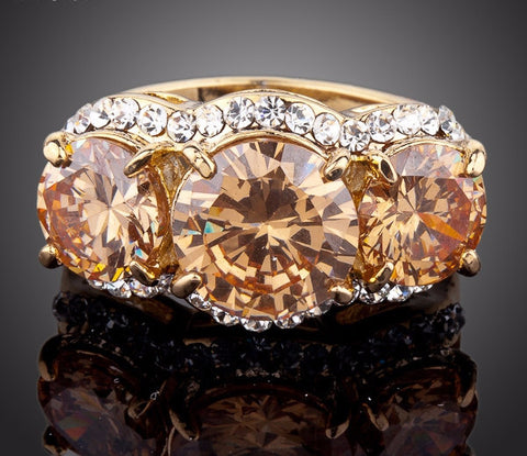 Sparkling Gold Plated Stellux Austrian Crystal Ring