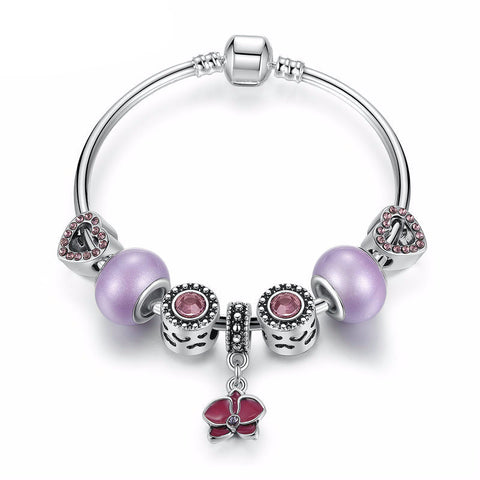 Silver Plated Purple Beads Charm Bracelet with Orchid Pendant
